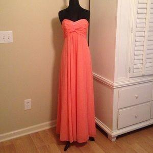 Sheer Long Chiffon Dress with Sweetheart Neckline